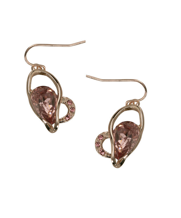 Swirly Heart Drop Earring, Pale Pink/Rose Gold, hi-res