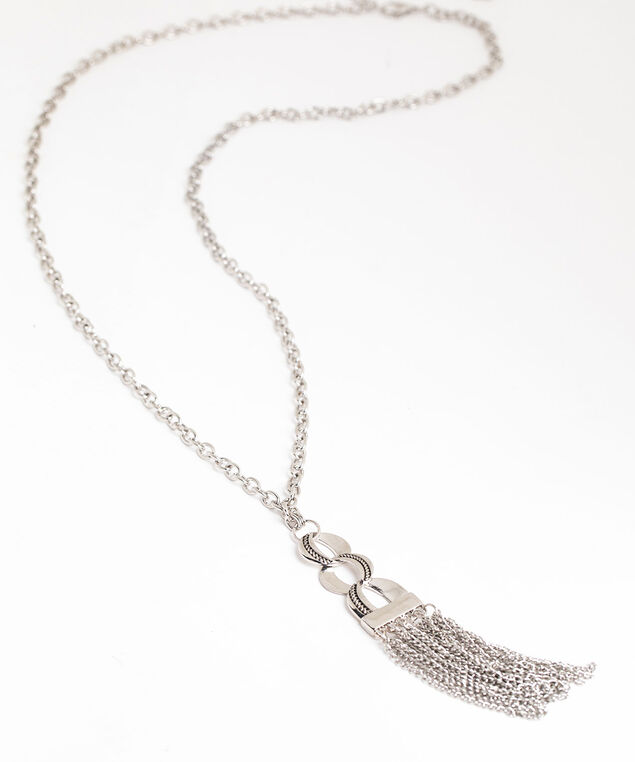 Silver Tassel Chain Link Necklace, Silver