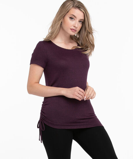 Side Ruched Hacci Tee, Blackberry/Black Mix, hi-res