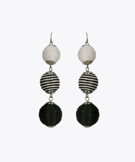 Wrapped Ball Drop Earring, Black/True White, hi-res