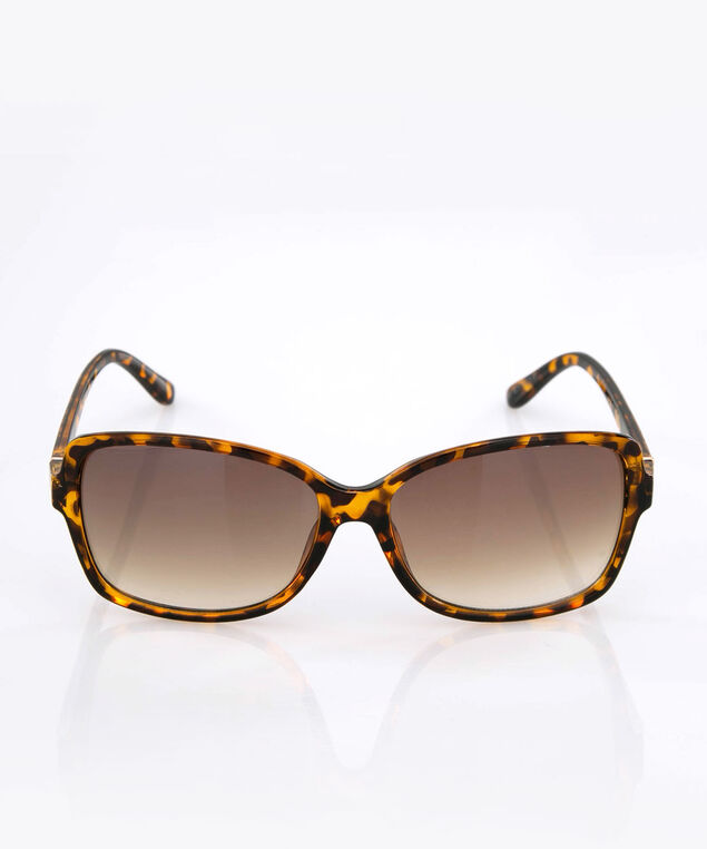 Square Animal Print Sunglasses, Brown, hi-res