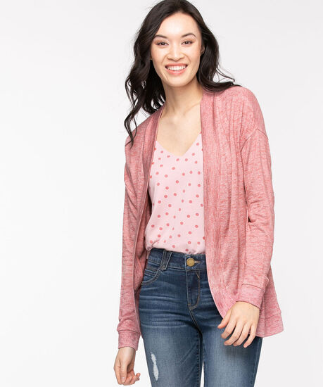 Hacci Long Sleeve Cocoon Cardi, Dusty Rose Mix, hi-res