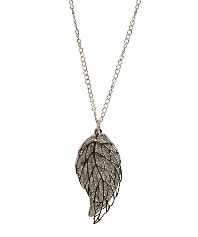 Glitter Paper Leaf Pendant Necklace, Silver/Rhodium, hi-res
