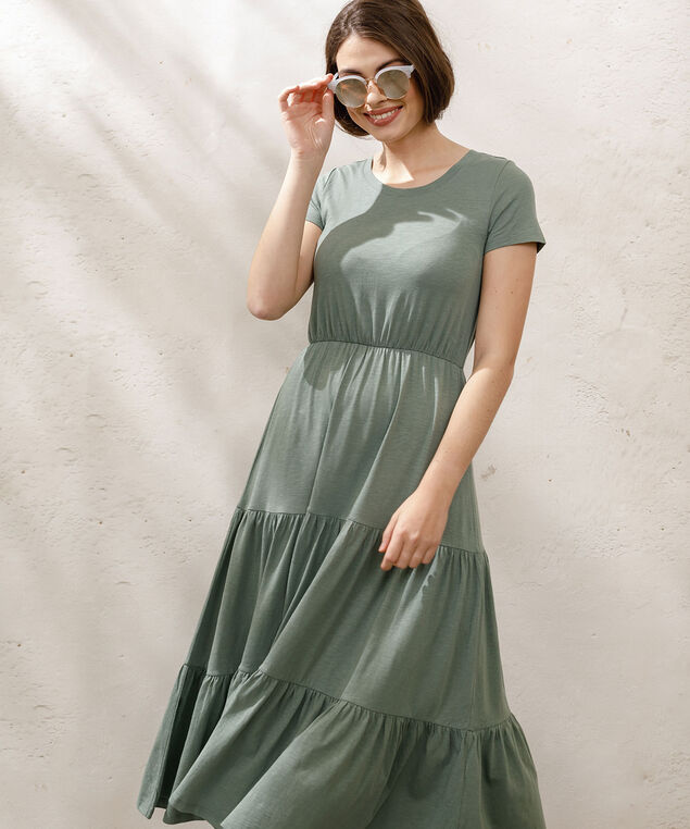 Short Sleeve Tiered Midi Dress, Sage, hi-res