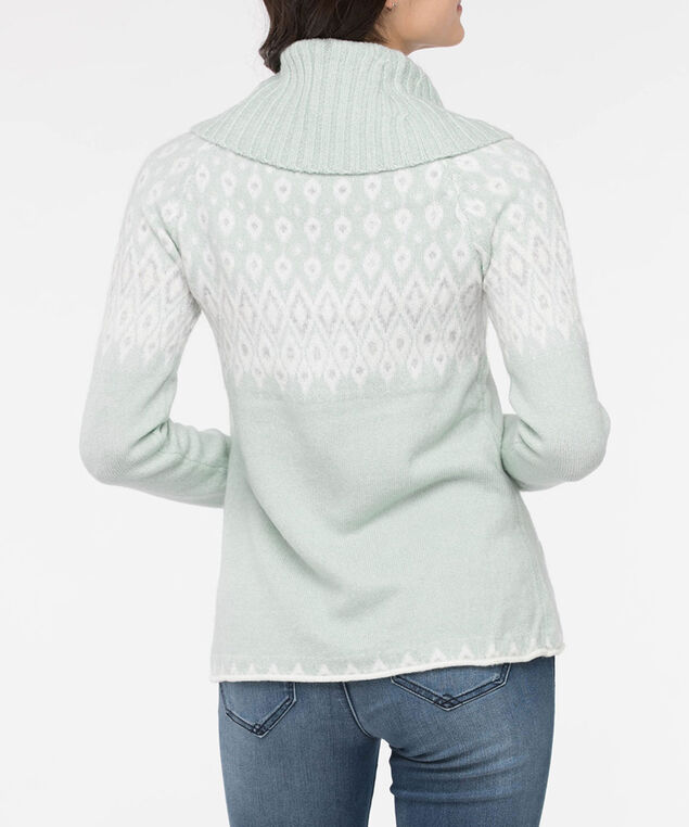 Fair Isle Cowl Neck Roll Hem Sweater, Seafoam/Pearl/Light Grey, hi-res