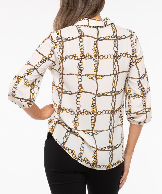 Collared Button Front Blouse, Pearl/Marigold/Black, hi-res
