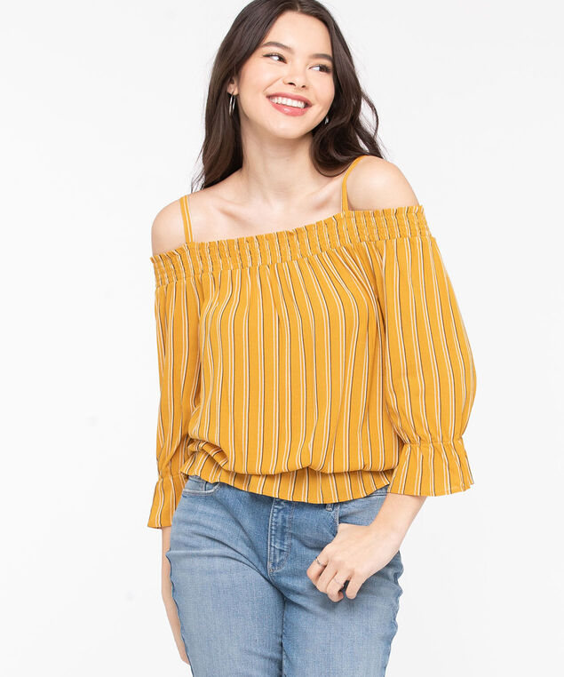 Striped Cold Shoulder Blouse, Mustard/Black/Pearl, hi-res