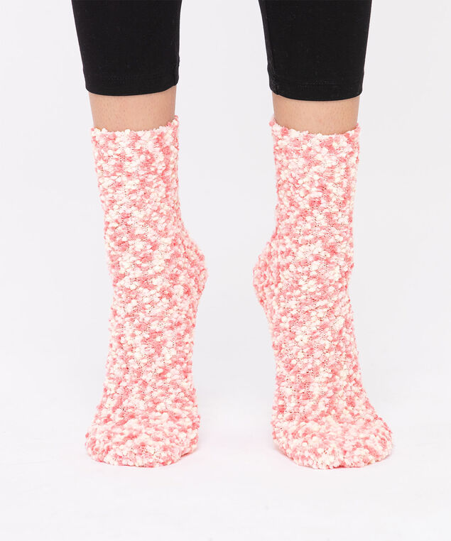 Pink Plush Textured Socks, Pink/Blush/Ivory