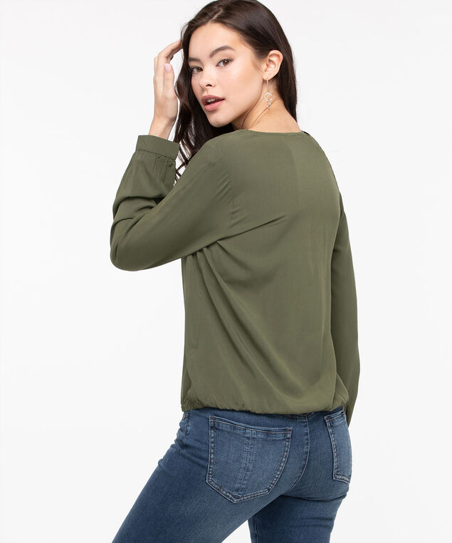 Cross Neck Bubble Hem Blouse, Moss, hi-res