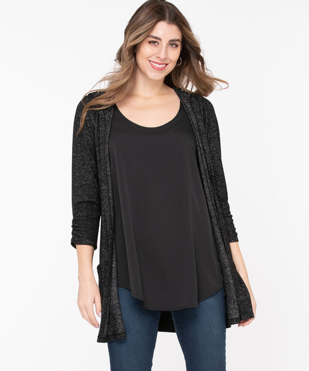 Hooded Tunic Length Open Cardigan, Black Mix, hi-res