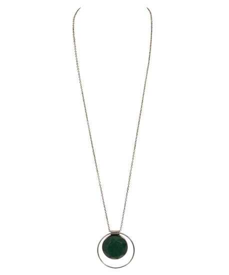 Stone & O-Ring Pendant Necklace, Jade/Burnished Silver, hi-res