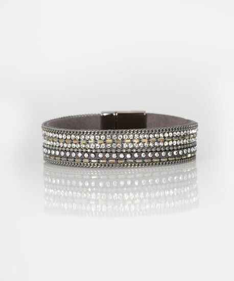 Crystal Faux Leather Wrap Bracelet, Grey/Rhodium, hi-res