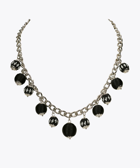 Bead & Thread Wrapped Statement Necklace, True White/Black/Rhodium, hi-res