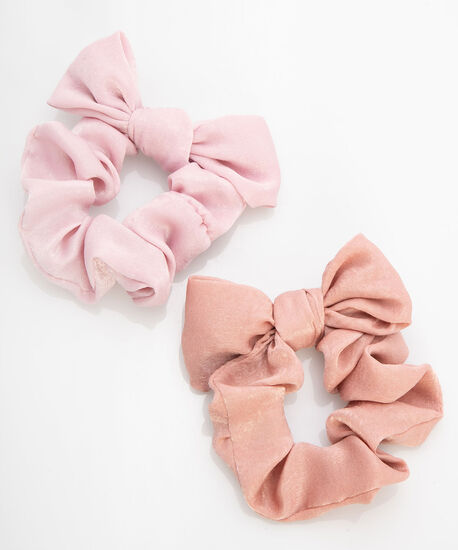 Bow Scrunchie Set, Rose Petal/Dusty Blush, hi-res