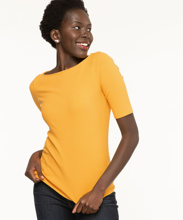 Ribbed Elbow Sleeve Top, Gold