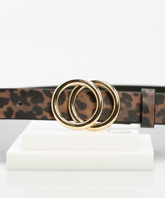 Leopard Print Double O-Ring Belt, Black/Brown/Gold, hi-res
