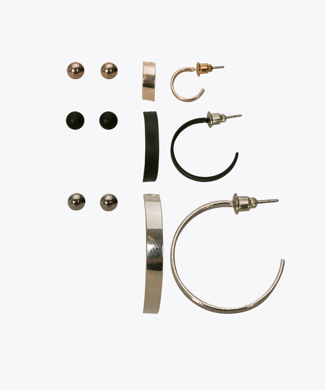 Hoops & Studs Earring Set, Rhodium/Black/Rose Gold, hi-res