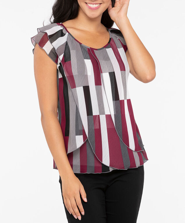 Short Sleeve Tulip Hem Blouse, Burgundy/Grey/Pearl, hi-res