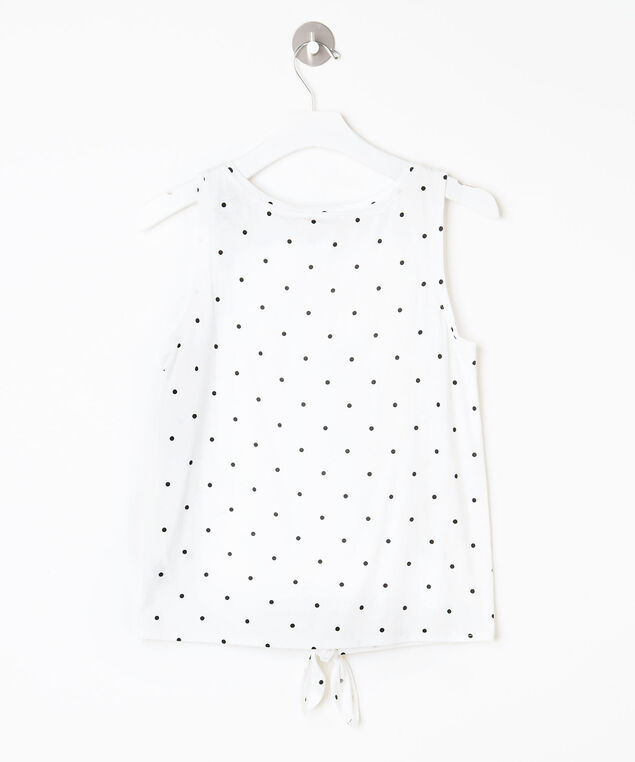 Sleeveless Tie Waist Henley Top, Pearl/Black, hi-res
