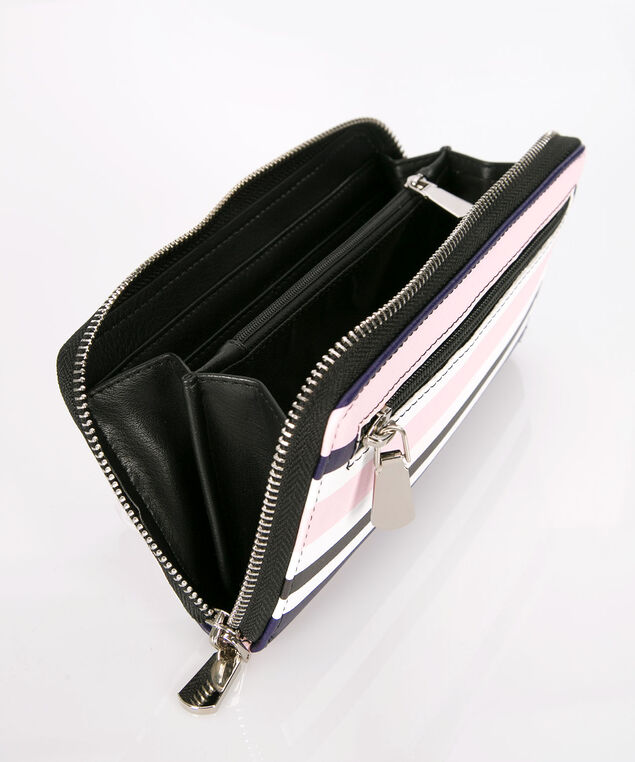Striped Zipper Wallet, Purple/Pink/White/Black, hi-res
