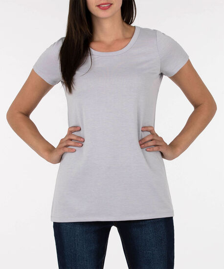 Open V-Back French Terry Tunic, Silver Grey, hi-res