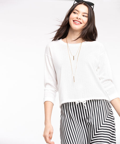 Textured Drawstring Bubble Top, Pristine, hi-res