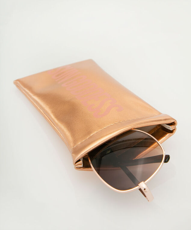 Sun Goddess Sunglass Case, Coral/Rose Gold, hi-res