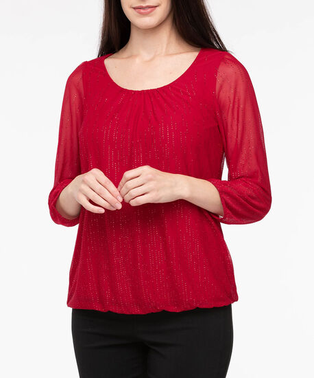 3/4 Sleeve Sparkly Bubble Top, Crimson, hi-res