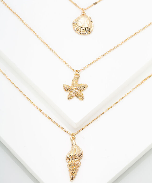 Delicate Layered Charm Necklace, Gold, hi-res
