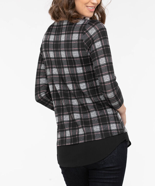 Plaid Criss Cross Fooler Top, Black/Dusty Blush/Mid Heather Grey, hi-res