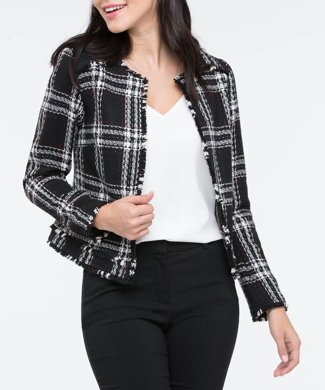Plaid Frayed Edge Boucle Blazer, Black/Pearl/Burgundy, hi-res