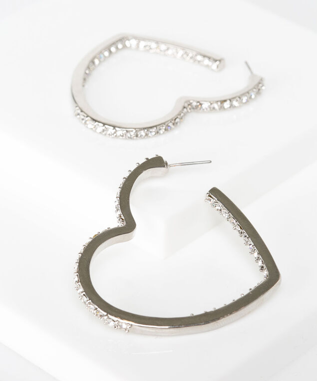Crystal Heart Shape Hoop Earring, Rhodium, hi-res