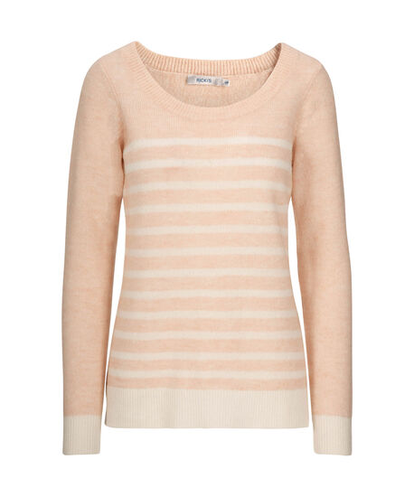 Striped Plush Pullover Sweater, Pale Pink/Milkshake, hi-res