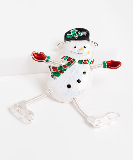Happy Skating Snowman Brooch, White/Red/Green, hi-res
