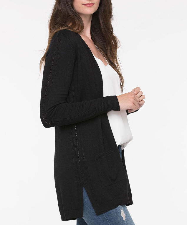 Long Sleeve Pointelle Open Cardigan, Black, hi-res