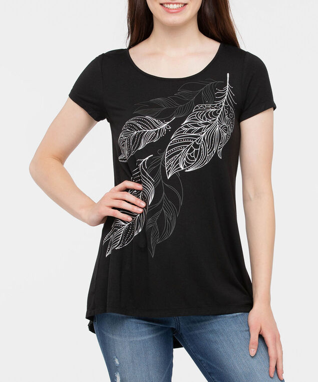 Short Sleeve Button Back Top, Black/Silver/Grey, hi-res