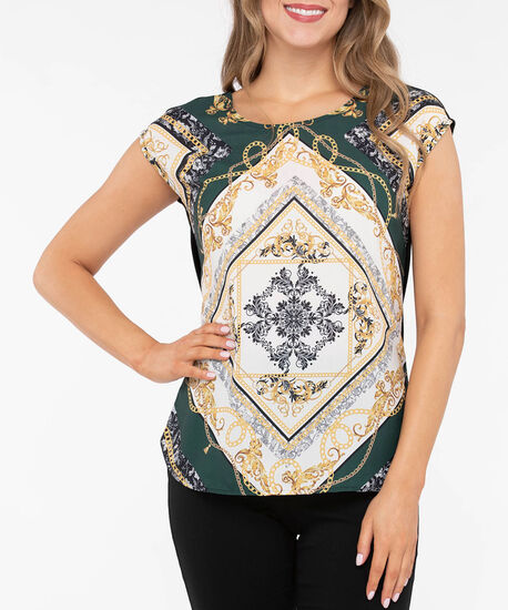 Scarf Print Mixed Media Top, Deep Green/Black/Mustard, hi-res