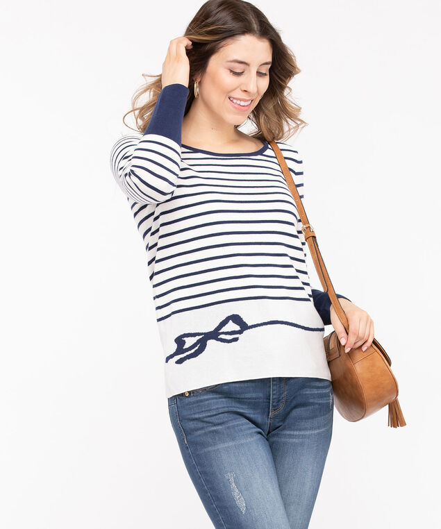 Striped Button Back Pullover Sweater, Summer Navy/Pearl, hi-res