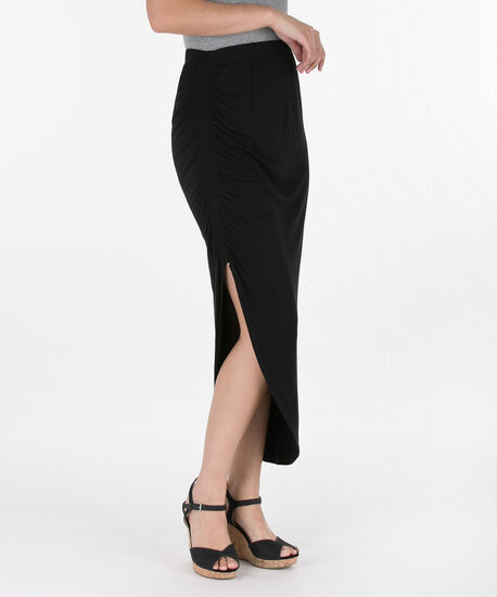 Ruched Side Slit Maxi Skirt, Black, hi-res