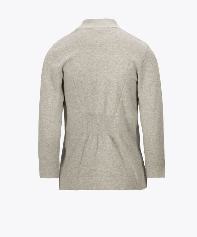 Cinch-Back Open Cardigan, Heather Grey, hi-res