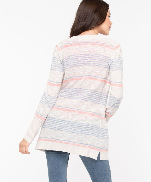Striped Roll Cuff Open Cardigan, Sand/Orange/Light Blue, hi-res