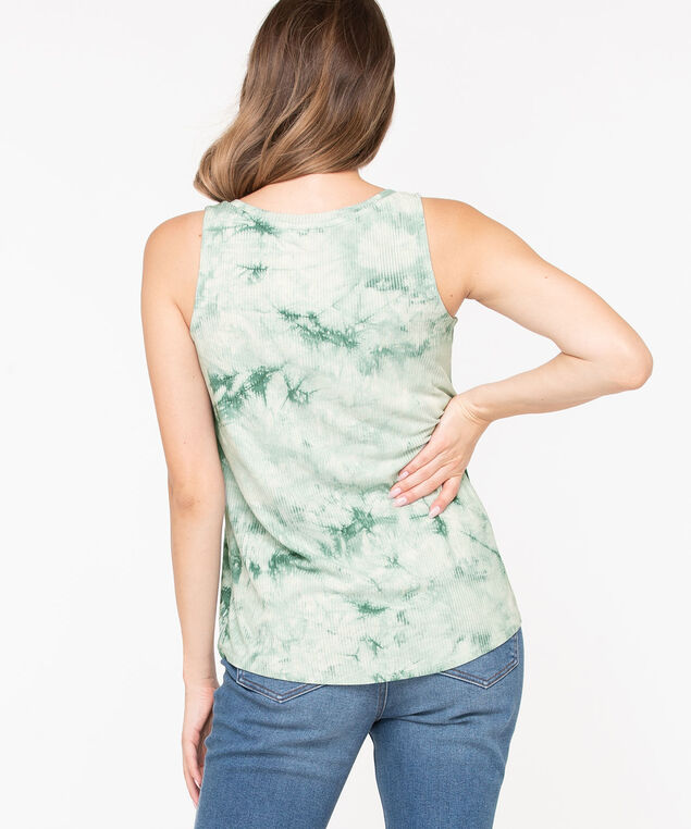 Tie-Dye Shirttail Tank Top, Green