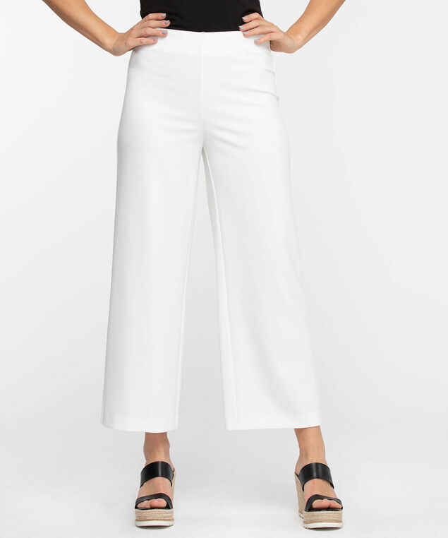 Scuba Crepe Wide Leg Crop, Snow White