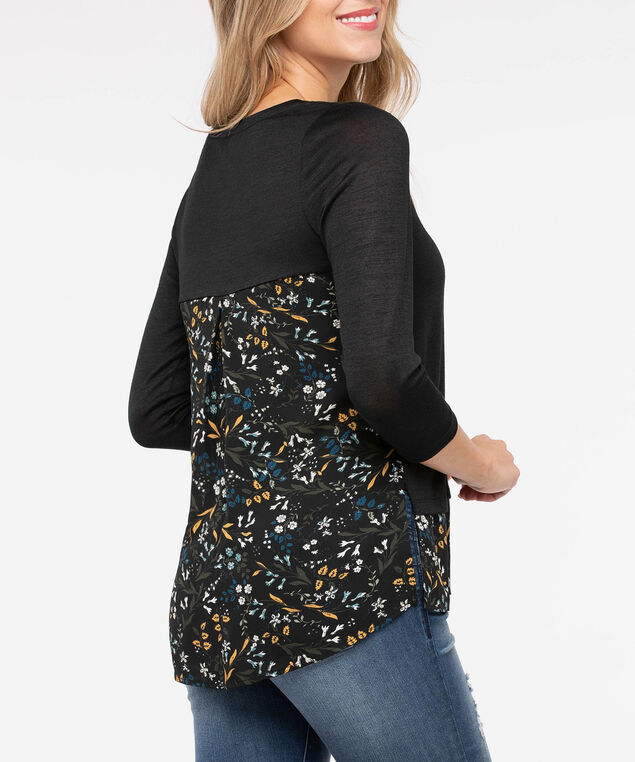 Lightweight Knit Fooler Top, Black/Mustard/Steel Blue, hi-res
