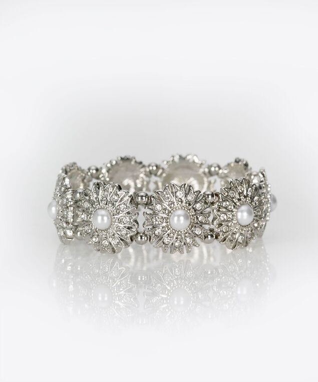 Pearl & Flower Stretch Bracelet, Rhodium, hi-res