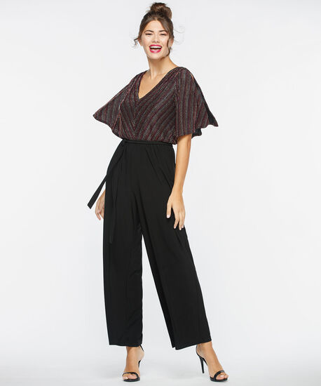 Split Sleeve Glitter Stripe Jumpsuit, Black/Berry/Gold/Silver, hi-res