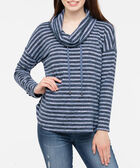 Striped Funnel Neck Pullover Top, Deep Sapphire/Soft Blue, hi-res