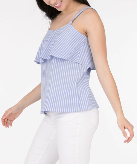 Wide Strap Sleeveless Ruffled Blouse, Chambray/White, hi-res
