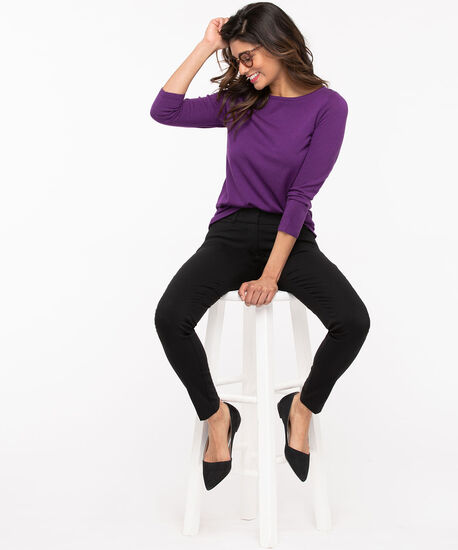 Soft Knit Pullover Sweater, Purple, hi-res