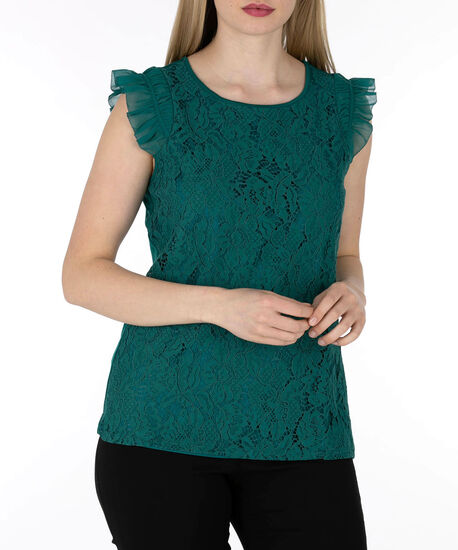 Flutter Sleeve Lace Front Top, Emerald, hi-res